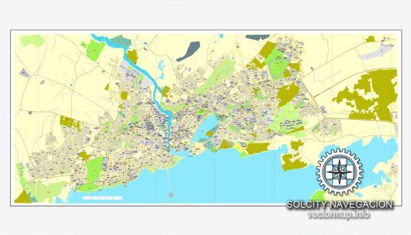 Map vector Galway, Ireland printable vector street City Plan map, full editable, Adobe Illustrator
