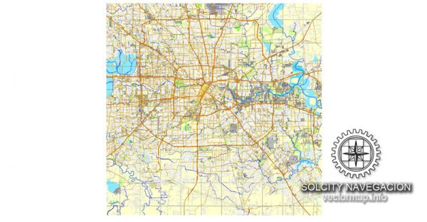 Map vector Houston, Texas, US printable vector street City Plan map, full editable, Corel Draw Map for design, print, arts, projects, presentations, for architects, designers and builders