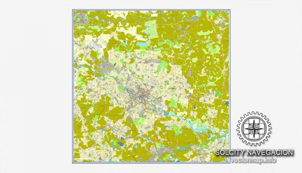 Leeds, UK Great Britain, printable vector street City Plan map, full editable, Adobe Illustrator