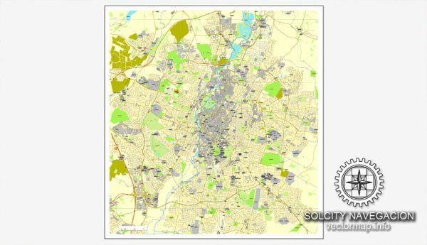 Map vector Leicester, England, UK Great Britain, printable vector street City Plan map, full editable, Adobe Illustrator