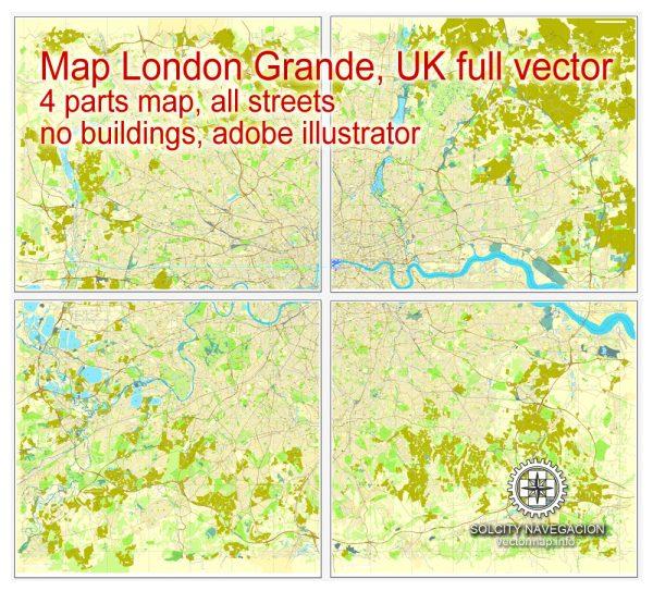 Map London, vector England UK Great Britain, printable vector street City Plan map in 4 parts, full editable, Adobe Illustrator