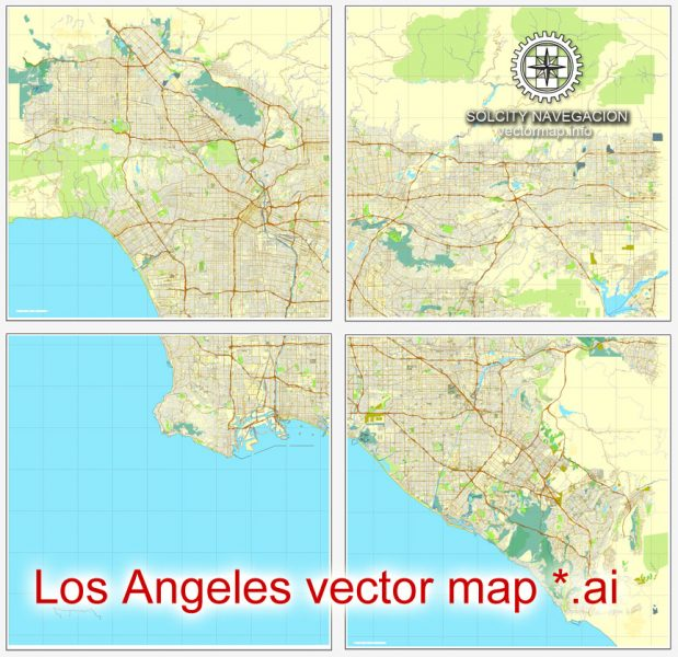 Map vector Los Angeles Grande Map, California US printable vector street City Plan 4 parts map, full editable, Adobe Illustrator Map for design, print, arts, projects, presentations, for architects, designers and builders