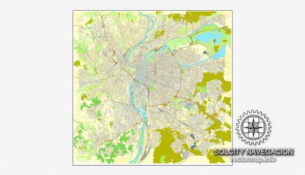Map vector Lyon, France printable vector street City Plan map, full editable, Adobe Illustrator Map for design, print, arts, projects, presentations, for architects, designers and builders