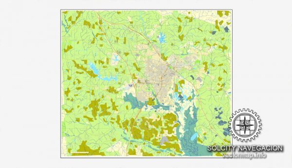 Map vector : Macon, Georgia, US printable vector street City Plan map, full editable, Adobe Illustrator