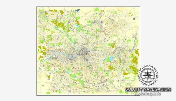 Manchester, UK Great Britain, printable vector street City Plan map, full editable, Adobe Illustrator