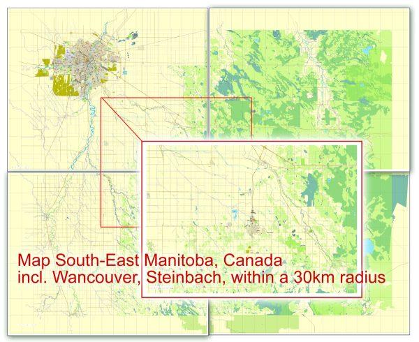 Winnipeg Steinbach Vector Map Canada printable City Plan 5 parts City Plan editable Adobe Illustrator