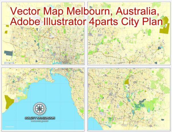 Map vector Melbourn, Australia, printable vector street 4 parts City Plan map, full editable, Adobe illustrator Map for design, print, arts, projects, presentations, for architects, designers and builders