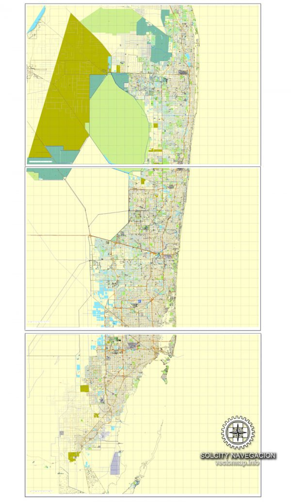 Vector map Miami, Florida, US printable vector street City Plan map 3 parts, full editable, Adobe Illustrator