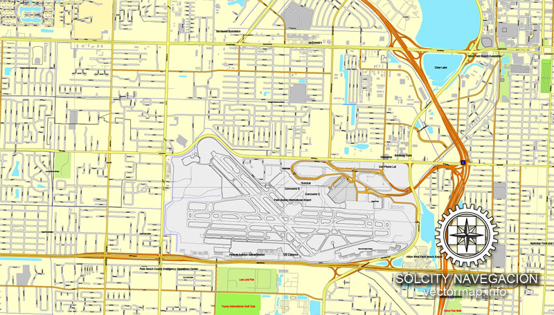 miami, florida, us printable vector street city plan map 3