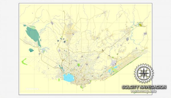Map vector Montevideo, Uruguai, printable vector street City Plan map, full editable, Adobe illustrator Map for design, print, arts, projects, presentations, for architects, designers and builders