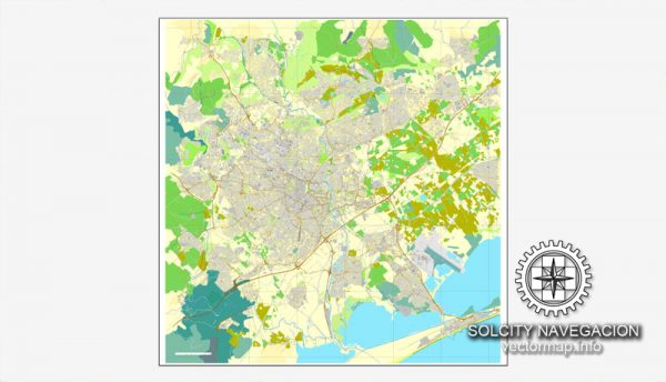 Map vector Montpellier, France printable vector street City Plan map, full editable, Adobe Illustrator Map for design, print, arts, projects, presentations, for architects, designers and builders