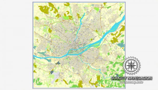 Map vector Nantes, France printable vector street City Plan map, full editable, Adobe Illustrator Map for design, print, arts, projects, presentations, for architects, designers and builders