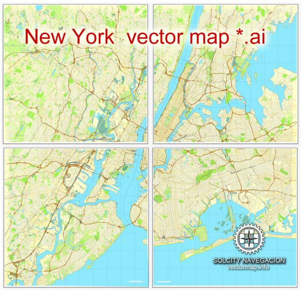 Map vector New York Grande Map, US printable vector street City Plan 4 parts map, full editable, Adobe Illustrator Map for design, print, arts, projects, presentations, for architects, designers and builders