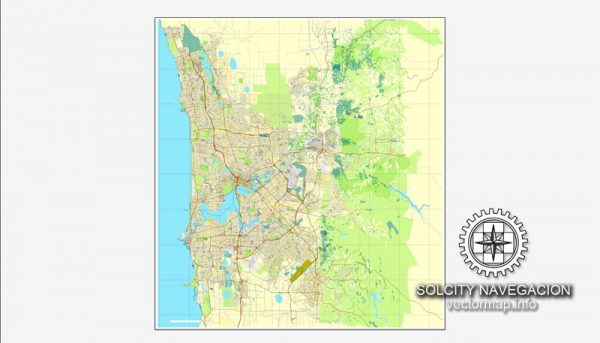 Map vector Perth, Australia, printable vector street City Plan map, full editable, Adobe illustrator Map for design, print, arts, projects, presentations, for architects, designers and builders