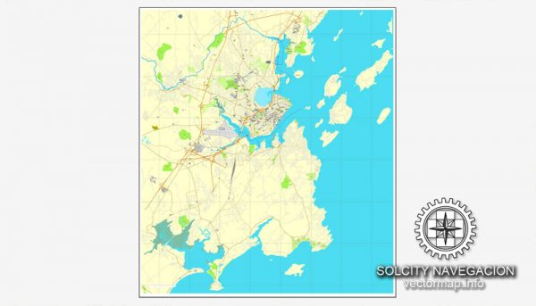 Map vector Portland, Maine, US printable vector street City Plan map, full editable, Adobe Illustrator Map for design, print, arts, projects, presentations, for architects, designers and builders