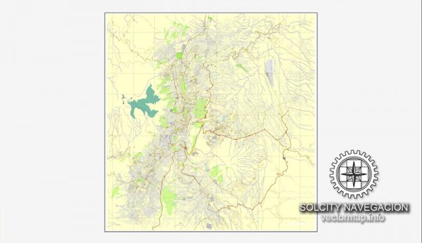 Map vector Quito, Equador, printable vector street City Plan map, full editable, Adobe illustrator Map for design, print, arts, projects, presentations, for architects, designers and builders