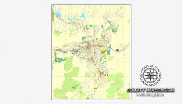 Vector map Reno, Nevada, US printable vector street City Plan map, full editable, Adobe Illustrator