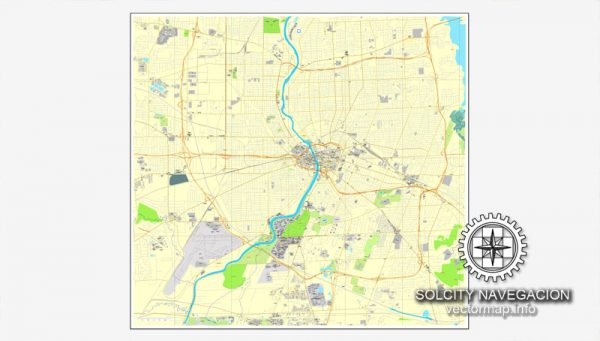 Map vector Rochester, New York, US printable vector street City Plan map, full editable, Adobe Illustrator Map for design, print, arts, projects, presentations, for architects, designers and builders