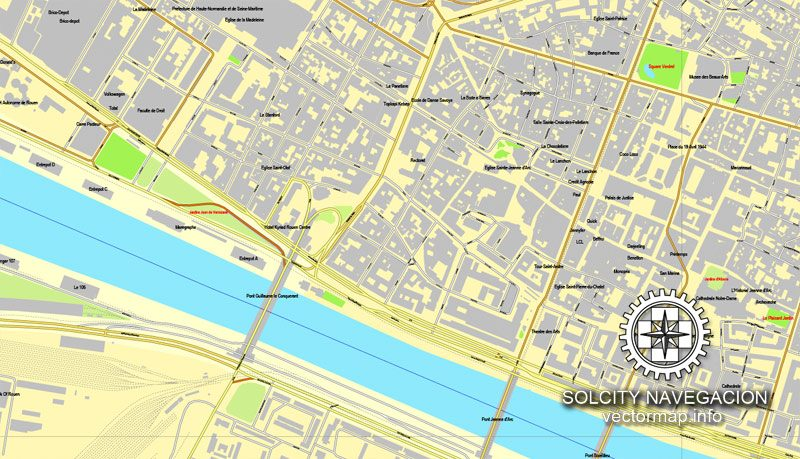 Map vector Rouen, France printable vector street City Plan map, full editable, Adobe Illustrator Map for design, print, arts, projects, presentations, for architects, designers and builders
