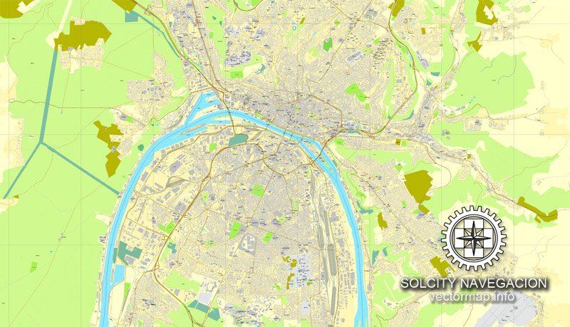 Rouen, France printable vector street City Plan map, full editable, Adobe Illustrator