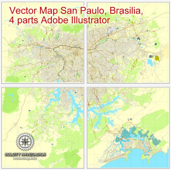 Map vector San Paulo, Brasilia, 4 part map, printable vector street City Plan map, full editable, Adobe illustrator Map for design, print, arts, projects, presentations, for architects, designers and builders