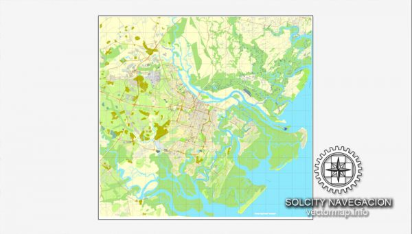 Vector map Savannah, Georgia, US printable vector street City Plan map, full editable, Adobe Illustrator