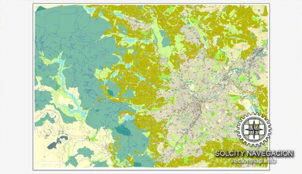 Sheffield, UK Great Britain, printable vector street City Plan map, full editable, Adobe Illustrator