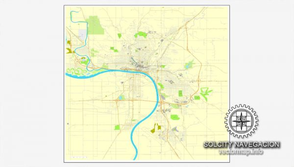 Map vector Sioux City, Iowa, US printable vector street City Plan map, full editable, Adobe Illustrator Map for design, print, arts, projects, presentations, for architects, designers and builders
