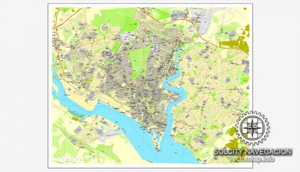 Map vector Southampton, England, UK Great Britain, printable vector street City Plan map, full editable, Adobe Illustrator