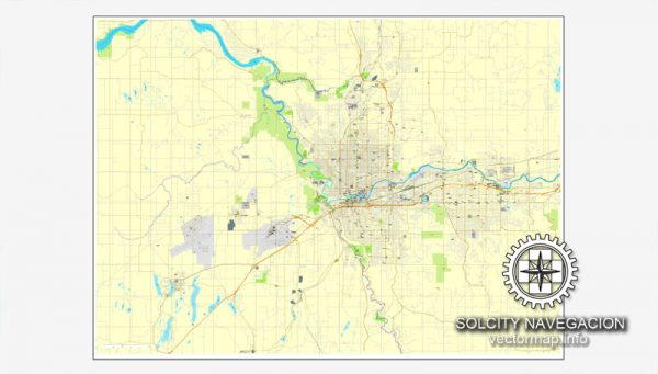 Map for print Spokane, Washington, US printable vector street City Plan map, full editable, Adobe Illustrator