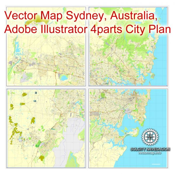 Map vector Sydney, Australia, printable vector street 4 parts City Plan map, full editable, Adobe illustrator Map for design, print, arts, projects, presentations, for architects, designers and builders