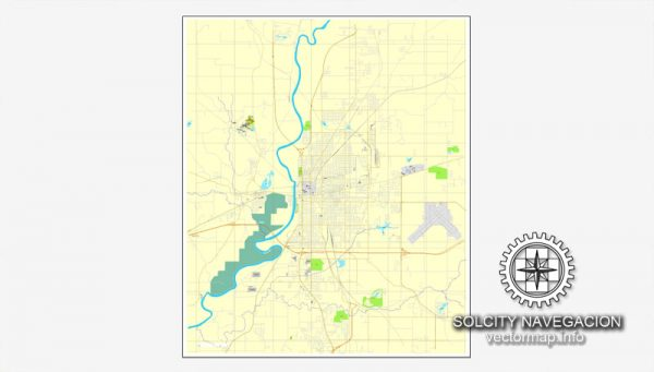 Map vector Terre-Haute, Indiana, US printable vector street City Plan map, full editable, Adobe Illustrator Map for design, print, arts, projects, presentations, for architects, designers and builders