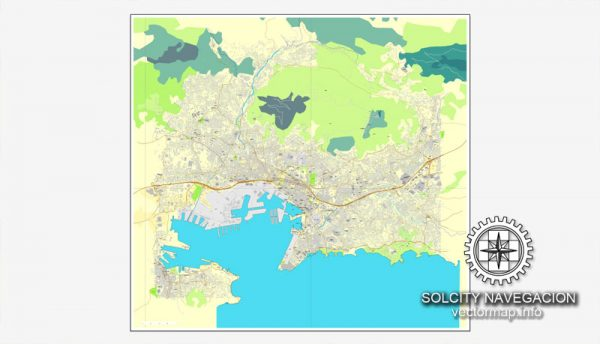 Map vector Toulon, France printable vector street City Plan map, full editable, Adobe Illustrator Map for design, print, arts, projects, presentations, for architects, designers and builders
