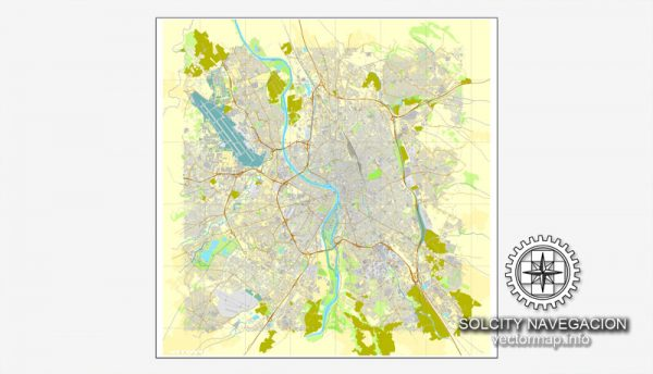 Map vector Toulouse, France printable vector street City Plan map, full editable, Adobe Illustrator Map for design, print, arts, projects, presentations, for architects, designers and builders