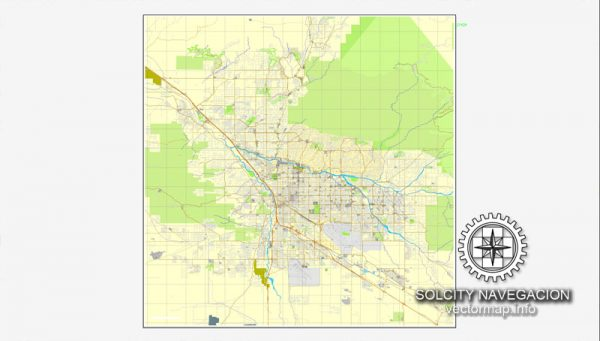 Map vector Tucson, Arizona, US printable vector street City Plan map, full editable, Adobe Illustrator Map for design, print, arts, projects, presentations, for architects, designers and builders