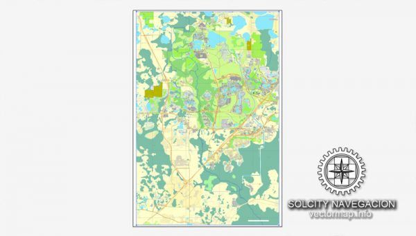 Vector map Walt Disney World, Florida, US printable vector street City Plan map, full editable, Adobe Illustrator