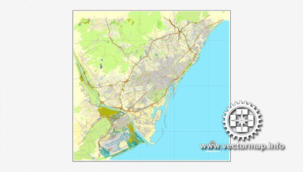 Map vector Barcelona, España, calle de vectores mapa imprimible Plan de la ciudad, lleno, Adobe Illustrator editable Map for design, print, arts, projects, presentations, for architects, designers and builders