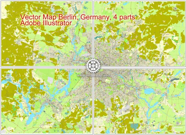 Map vector Berlin, Germany, printable vector street City Plan map in 4 parts, full editable, Adobe illustrator Map for design, print, arts, projects, presentations, for architects, designers and builders