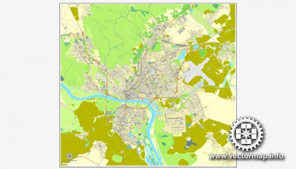 Bratislava, Slovakia, printable vector street map, City Plan, full editable, Adobe Illustrator, Royalty free, full vector, scalable, editable, text format street names