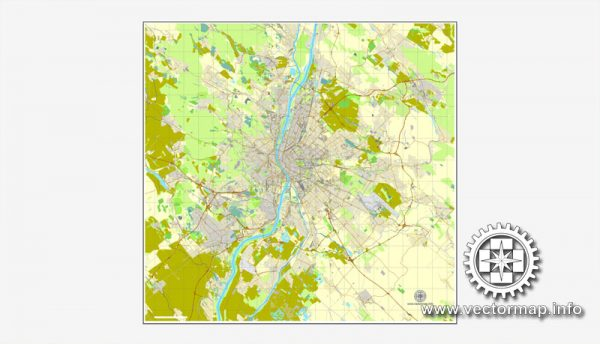 Map vector Budapest, Hungary, printable vector street City Plan map, full editable, Adobe illustrator Map for design, print, arts, projects, presentations, for architects, designers and builders