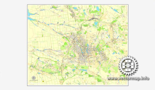 Донецк, Украина, векторная карта в формате Adobe Illustrator, полностью редактируемая