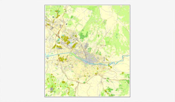 Florence / Firenze, Italy, printable vector street map City Plan, full editable, Adobe Illustrator, Royalty free, full vector, scalable, editable, text format street names,