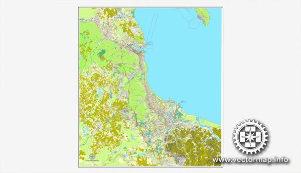 Gdansk + Sopot + Gdynia, Poland, printable vector street map, City Plan, full editable, Adobe Illustrator, Royalty free, full vector, scalable, editable, text format street names