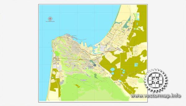 Haifa, Israel, printable vector street map, City Plan, full editable, Adobe Illustrator, Royalty free