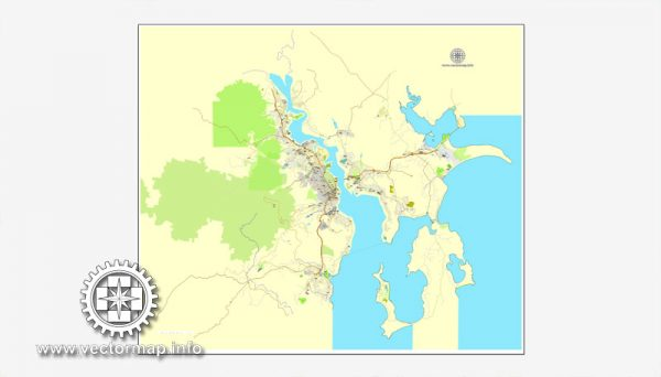 Map vector Hobart, Tasmania, Australia, printable vector street City Plan map, full editable, Adobe illustrator Map for design, print, arts, projects, presentations, for architects, designers and builders