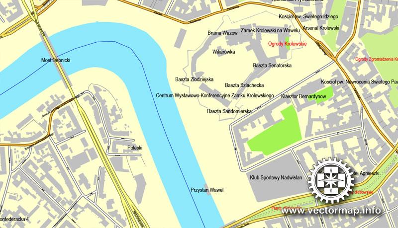 Street map Krakow Poland