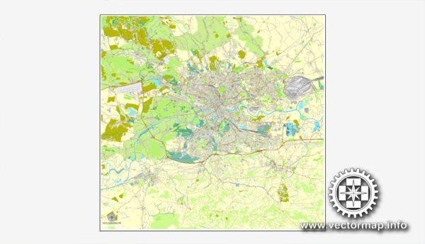 Krakow, Poland, printable vector street map, City Plan, full editable, Adobe Illustrator, Royalty free, full vector, scalable, editable, text format street names
