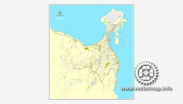 Map vector Las Palmas, Spain, printable vector street City Plan map, full editable, Adobe illustrator, full vector Map for design, print, arts, projects, presentations, for architects, designers and builders