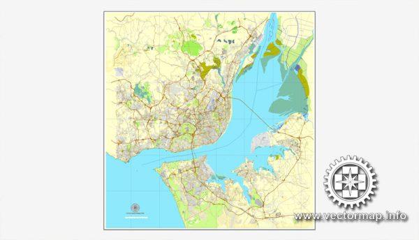 Lisbon / Lisboa, Portugal, printable vector street map City Plan, full editable, Adobe Illustrator, Royalty free, full vector, scalable, editable, text format street names, 12,9 mb ZIP All streets, All buildings.