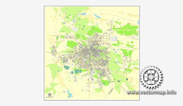 Львов, Украина, векторная карта в формате Adobe Illustrator, полностью редактируемая, имена улиц и объектов в текстовом формате